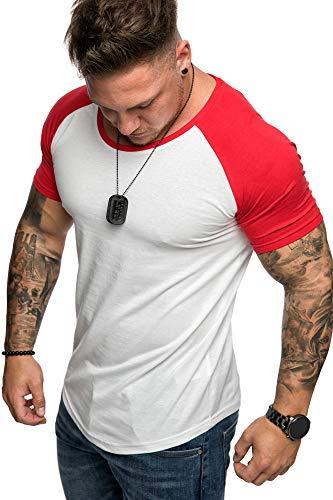 Amaci&Sons Oversize Doppel Farbig Herren Slim-Fit Crew Neck Basic T-Shirt Rundhals 1-0015 Weiß/Rot L