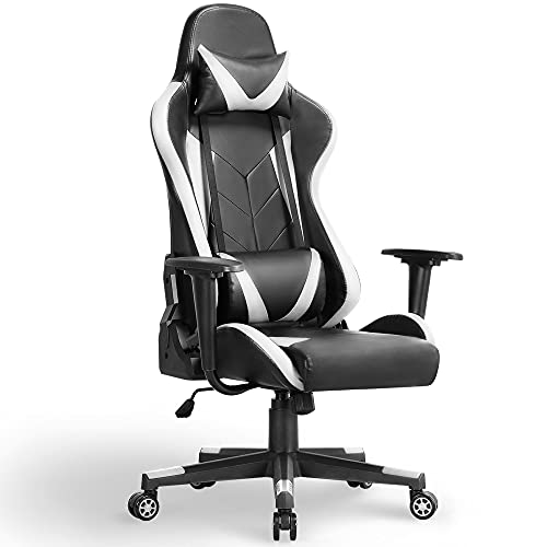 Yaheetech Gaming-Stuhl, hohe Rückenlehne, Computerspielstuhl, PU-Leder, Schreibtischstuhl, Chefsessel, robuste Stühle mit Lendenwirbelstütze
