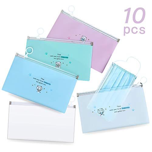 none brand Yolistar 10PCS Contenitore per Mascherina Silicone Scatola Maschera Riutilizzabile Portatile,Portaoggetti per Maschere per Proteggere da Polvere Sporco