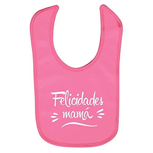 ClickInk Babero bebé Felicidades mamá. Regalo bebé, regalo primera puesta, regalo recién nacido, babero divertido, babero bebé algodón. (Rosa)