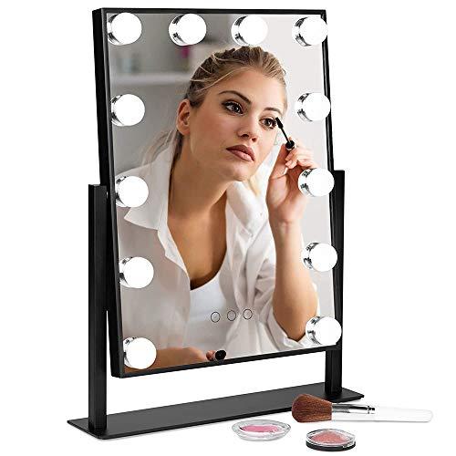ADLOASHLOU Tabletop Professionelle Schminkspiegel mit Licht, Beleuchteter Kosmetikspiegel mit dimmbaren LED-Lampen, Hollywood Spiegel mit 3 Farbe Licht Umwandlung Black