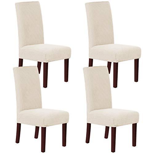 H.Versailtex 4 fundas para silla de comedor de jacquard de alta elasticidad, de alta licra, protector de asiento lavable a máquina/antideslizante, color natural