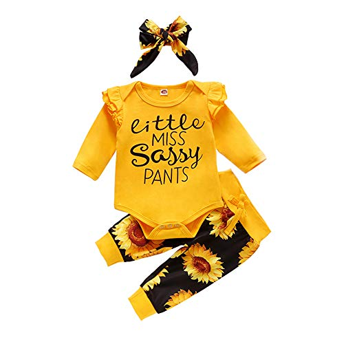 Baby Girl Outfits Infant Ruffle Romper Tops Floral Pants Headband 6 12 Months Newborn Girls Fall Clothes