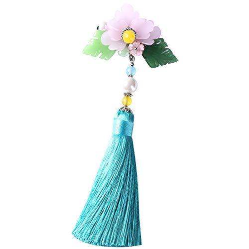YUXIwang Broche de Peonía Broche de la Flor en el Pecho, Retro Chino Cheongsam clásico Pin Borla Colgante Bufanda de Seda de la Hebilla de la Chaqueta de Accesorios, 15,3 * 6,2 cm