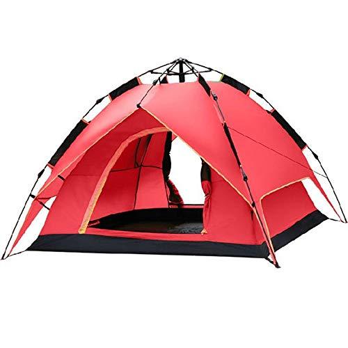 Strandzelt Familie Sport Bergsteigen Wandern Reisen Camping im Freien Doppeltür Doppelschicht Hydraulic Automatic Fit 2-3 Personen 3 Saison Leichte wasserdichte Zelt Camping Zelt (Color : Red)