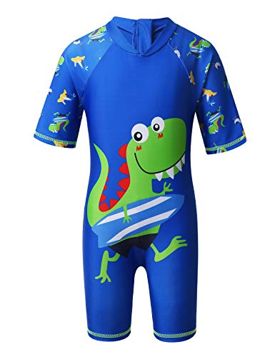 MSemis Baby Jungen Badeanzug Hai/Dinosaurier Schwimmanzug mit Reißverschluss Rash Guard UPF 50+ Gr. 86-110 Blau 104-110