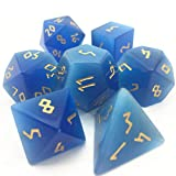 Amatolo Handmade Natural Gemstone Dice Set, Collection Jade Dices for Dungeons & Dragons (1B18 Royal Blue Cat's Eye)