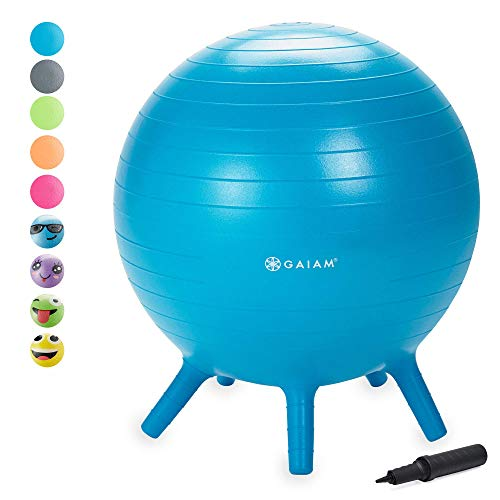 Gaiam Kids Stay-N-Play Children's Balance Ball - Flexible School Chair Active Classroom Desk Alternative Seating   Built-In Stay-Put Soft Stability Legs, Includes Air Pump, 52cm, Blue