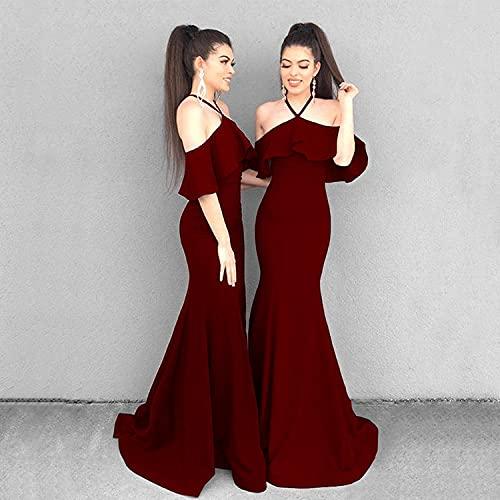 BLUSEZHUBA Vestidos De Fiesta Vestir Dress Mujer Niña Vestido Largo con Manga De Hoja De Loto Y Cabestrillo para Mujer Vestido Nuevo Vestido con Cabestrillo-Vino Rojo_3XL