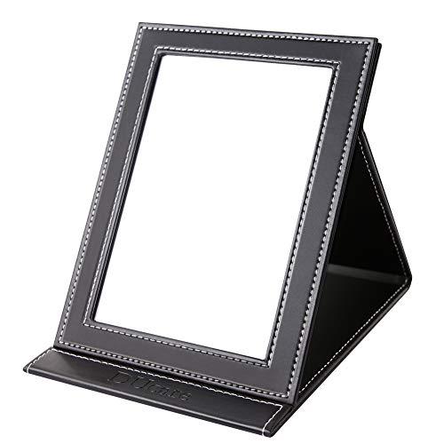 DUcare Reisespiegel Schminkspiegel Kosmetikspiegel Make up Spiegel Klappspiegel Tischspiegel mit PU-Leder Hülle (L-Schwarz)