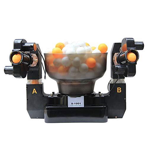 LHZHG Tischtennis Training Doppelend-Roboter 2-Outlets Ball, automatische Tischtennis-Ballmaschine Einzel-/Doppel-Ball-Optionen erhältlich für Trainingsübung