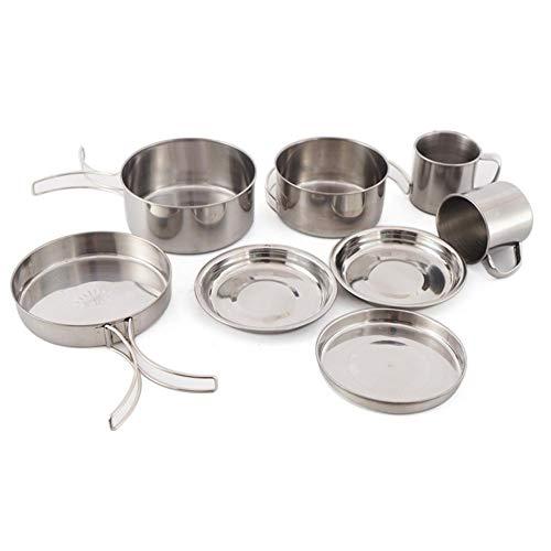 Arbougstg - Olla de picnic para exteriores, 8 piezas, accesorios de cocina al aire libre, olla de acero inoxidable, incluye ollas, cuencos y tazas.