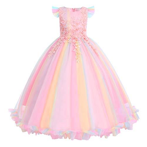 FYMNSI Vestido de niña flores tul largo, vestido boda, dama honor, formal,...