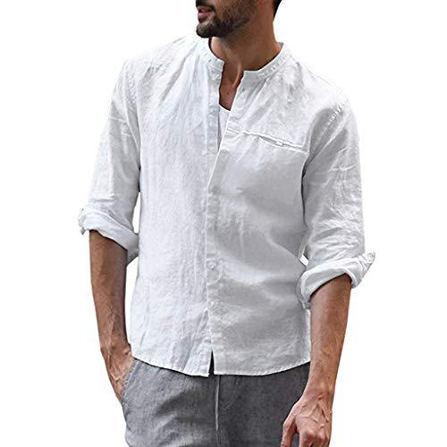 Herren Baggy Baumwollmischung Tasche Einfarbig Langarm Retro T Shirts Tops Hemd Vintage Hawaiihemd Karohemd Businesshemden Freizeithemden Langarmhemd mit Taschen Herrenschuhe Herrenbekleidung