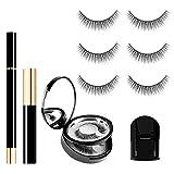 SISILILY 3 Pairs Magic False Eyelashes and Eyeliner Kit No Magnet Glue-Free Reusable Waterproof Natural Look Eyelashes Kit with Mascara(DAWN)