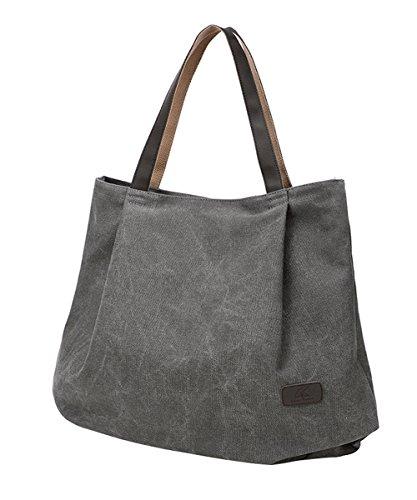 PB-SOAR Damen XXL Vintage Canvas Shopper Schultertasche Handtasche Beuteltasche Freizeittasche (Grau)
