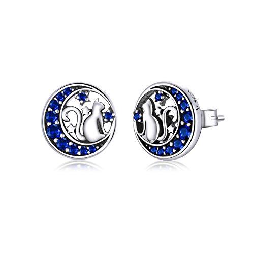 GDDX Pendientes de plata esterlina con lindo gato y luna para mujer, pendientes de circonita cúbica azul con forma de media luna, pendientes de animales para mujeres y niñas
