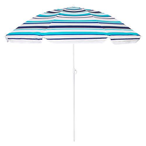SPRINGOS Ombrelle Rayée Hauteur max. 160 cm Ø 150 cm Parasol de plage Tons bleus Pour jardin/maison