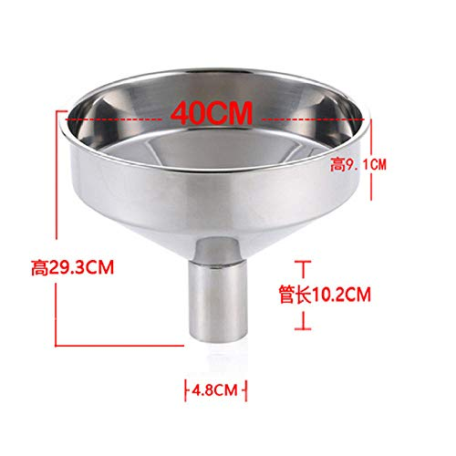 huanglingyun Embudo de aceite engrosado 304 artículos de cocina de acero inoxidable Calibre 40CM pequeño embudo