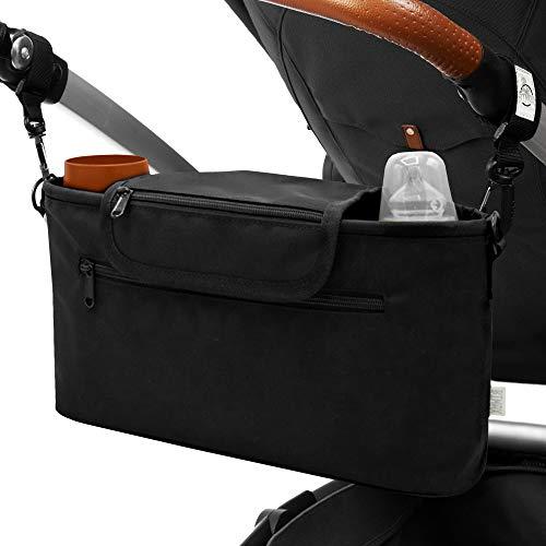 BiMAX Kinderwagen Organizer inkl. Schulterband, Isoliertasche und Befestigungshaken I Kinderwagentasche I Pram, Buggy Organizer (Schwarz)