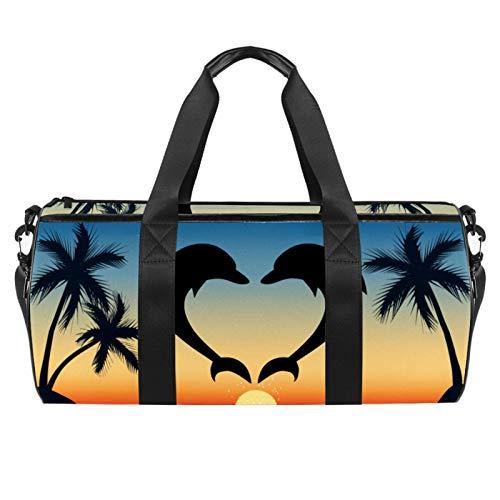 Xingruyun Sporttasche Kinder Delphin Sonnenuntergang Badetasche Gym Tasche schwimmtasche Schultertaschen Reisetasche Urlaubstasche klein Fitnesstasche Sport-Taschen für Mädchen Jungen 45x23x23cm