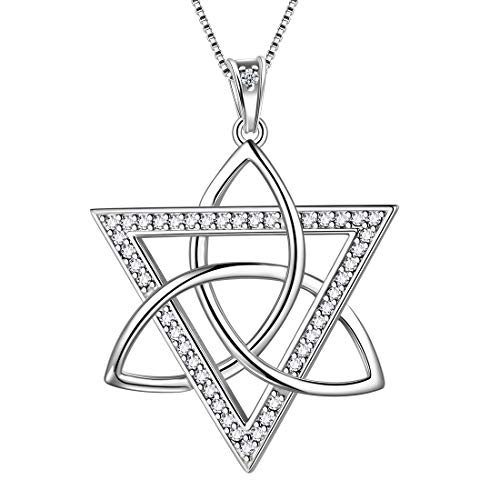 Aurora Tears Celtic Necklace Women 925 Sterling Silver Celtic Knot Pendant Black Crystone Irish Celtic Symbols Jewelry (Celtic-Star-Silver)