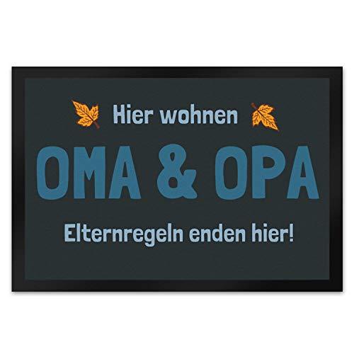 trendaffe - Fußmatte Hier wohnen Oma & Opa - Elternregeln Enden Hier!