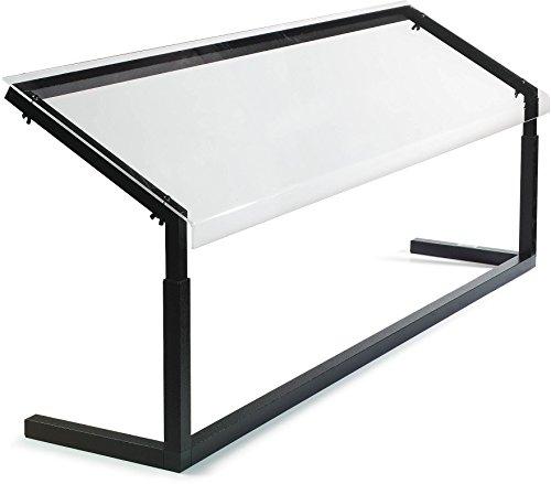 Carlisle 926003 Acrylic Adjustable Single Sided Sneeze Guard with Aluminum Frame, 60-1/4' Length x 12.44' Depth, Black
