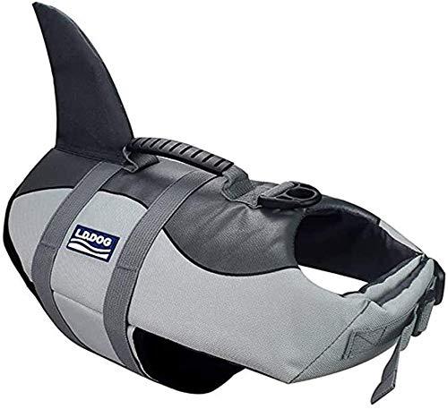 Petilleur Hunde Schwimmweste Schweben Rettungsweste Hunde Einstellbar (L, Grau)