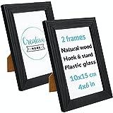 Creative Home 2 x Marco Fotos 10x15 cm Negro | Madera Pino Rústicos | Portafotos con Soporte y Ganchos para Colgar en Pared Horizontal o Verticalmente | Montaje Fácil | Glás | Juego de 2