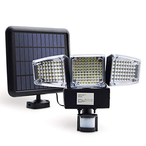 Tellgoy 188 LED De Luz Solar, Lámpara De Seguridad con Sensor De Movimiento con Luz Impermeable De Tres Cabezas para Exteriores para Entradas, Patio, Patio