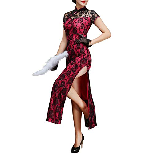 Women's Long Cheongsam Dress Sexy Roses Lace Side Split Chinese Gown Bodycon Vintage Long Qipao (M, Mandarin Collar Rose-E)