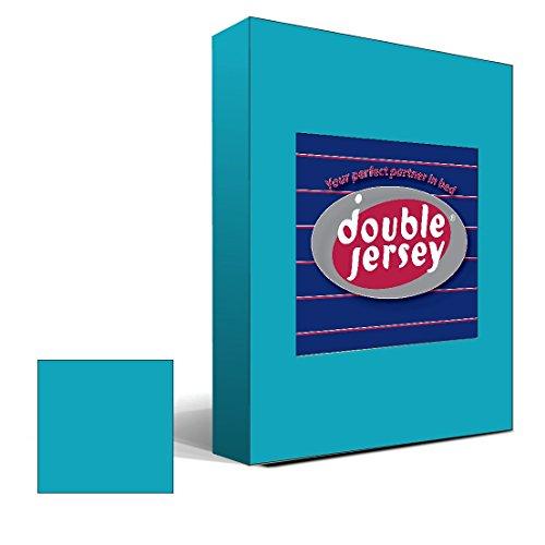 Double Jersey – Spannbettlaken 100% Baumwolle Jersey-Stretch bettlaken, Ultra Weich und Bügelfrei mit bis zu 30cm Stehghöhe, 160x200x30 Türkis - 2