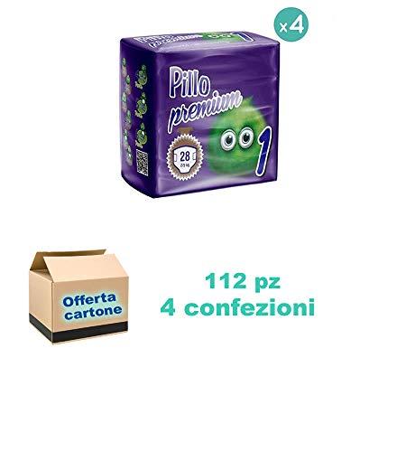 Pillo Premium New Born, Taglia 1 (2-5 Kg), 4x28, 112 Pannolini