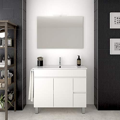 DUCHA.ES Mobile da Bagno con LAVABO Specchio E Lampada LED Bianco con Ante E CASSETTI (80CM)