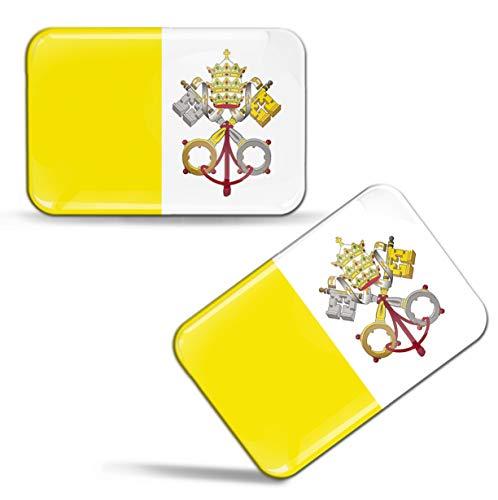 Biomar Labs® 2 x Aufkleber 3D Gel Silikon Stickers Vatikan Flagge Römisch-katholische Kirchen Vatikanstadt Vatikanische Fahne Vatican Flag Auto Motorrad Fahrrad Fenster Tür PC Tablet Laptop F 83