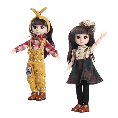 Milageto 2Pcs Handmade Full Set Doll 36cm Fashion Girl Doll Eyes Clothes Gift Toy