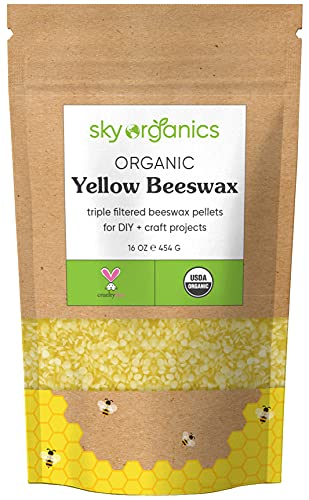 Organic Yellow Beeswax Pellets (1lb) by Sky Organics 100% Pure USDA Organic Bees Wax Triple Filtered...