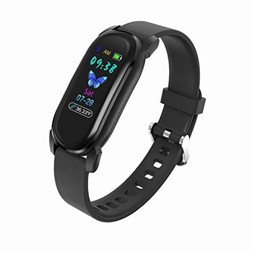 LXF JIAJU Muñeca Inteligente Tasa del Corazón Monitoreo del Sueño Termómetro Touch Termómetro Impermeable Medición De Temperatura Smart Sport Watch Black