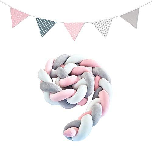 lilime® Bettschlange geflochten Inkl. GRATIS Wimpelkette – Schadstoffgeprüft – Super weiche Bettumrandung geflochten - Babybettumrandung Babybett - Baby Nestchen – Bettschlange (2m/Grau-Weiß-Pink)