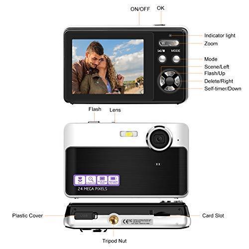Lincom Digitalkamera Kompaktkamera 24MP Fotoapparat Digitalkamera 2,4 Zoll LCD-Bildschirm Fotokamera 3-facher Digitalzoom Vlog Kamera für YouTube