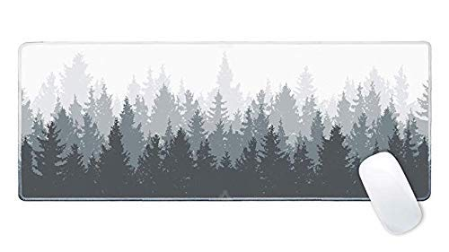 Galdas Gaming Mouse Pad Forest Background Pattern XXL XL Large Mouse Pad Mat Long Extended Mousepad Desk Pad Non-Slip Rubber Mice Pads Stitched Edges Thin Pad (31.5x11.8x0.08 Inch)-Tree Photo #5