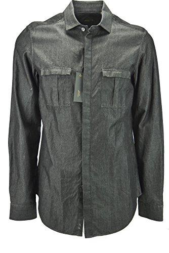 Mauro Grifoni Hombre de la Camisa de Negro Iridiscente dos bolsillos en el pecho - 15¾ 40
