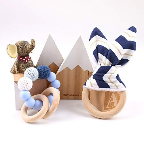 Mamimami Home Bébé Silicone Anneau de Dentition érable en Bois Bagues Organiques Crochet Perles Bricolage Bijoux Bracelet Fait Main Jouet de Dentition Bébé Douche Cadeau (Bleu)