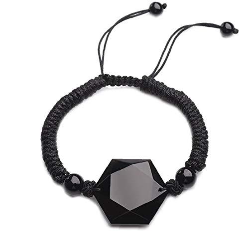 NaisiCore Pulsera de Cristal de obsidiana Hexagrama Estrella Pulsera Negro Hombres y Mujeres Conjunto de Joyas
