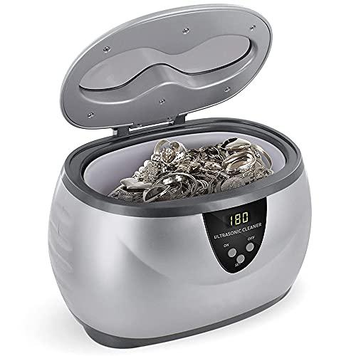 MMOBIEL ultraljudstvätt, smyckestvätt med digital timer för elektronik, glasögon, klockor, ringar, diamanter, tandställningar inkl. korg - Kapacitet 600 ml