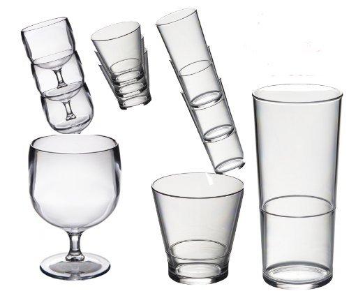 Conjunto especial de 18 Roltex apilable plástico policarbonato, irrompible, vasos reutilizables. Apilamiento de 6 copas de vino 220ml de capacidad. 6/ el whisky de apilamiento de vasos de jugo de capacidad 250ml. 6 vasos de apilamiento capacidad 450 ml