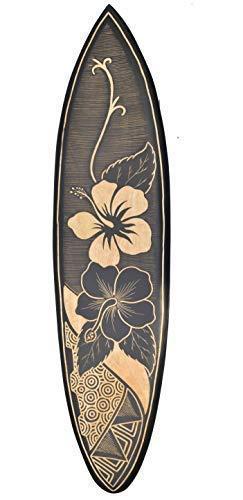 Interlifestyle Surfboard 100cm mit Hibiskus Blumen Motiv Deko Hawaii Holzschild