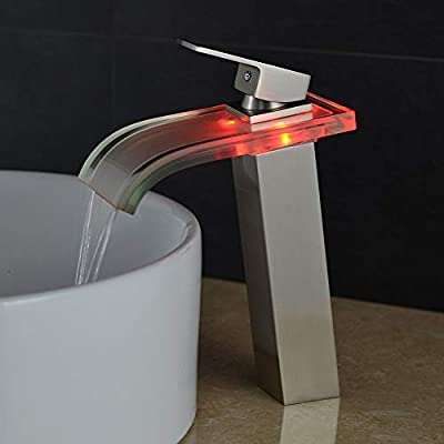 GLXSZ Bathroom Sink Faucet - Waterfall Nickel Brushed Centerset Single Handle One HoleBath Taps/Brass