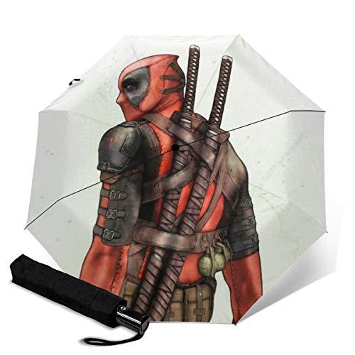 Deadpool Automatischer Dreifach Faltschirm Unisex Bedruckter Regenschirm Manueller Regenschirm Tragbarer Regenschirm